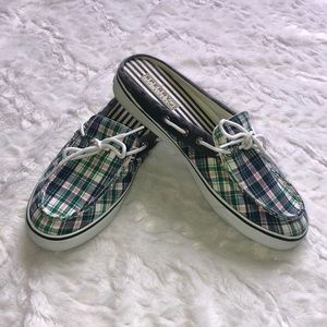 Sperry Plaid Canvas Top Sider Mules 10 M